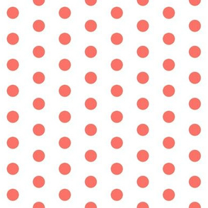 polka dot fabric - coral fabric, living coral fabric, color o f the year fabric - coral - white