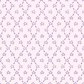 Purple doodle stars on a pink background