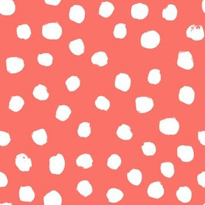 dots painted fabric - coral fabric, living coral fabric, pantone fabric, color of the year fabric