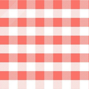 coral gingham fabric, summer fabric, picnic fabric,  coral fabric, living coral fabric, pantone fabric, color of the year fabric