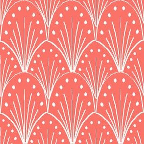 art deco shell fabric, coral fabric, living coral fabric, pantone fabric, color of the year, shell, decor,
