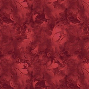 Ruby Red Abstract Feathers Pattern