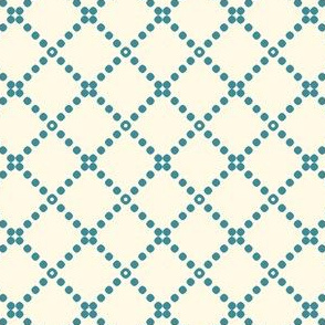 Ivory and Muted Blue Dots Cross Stitch Pattern