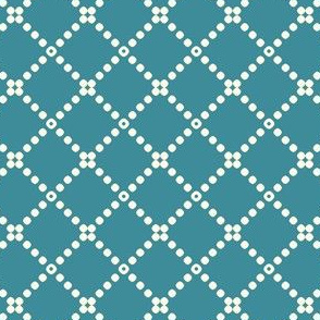 Muted Blue and Ivory Dots Cross Stitch Pattern