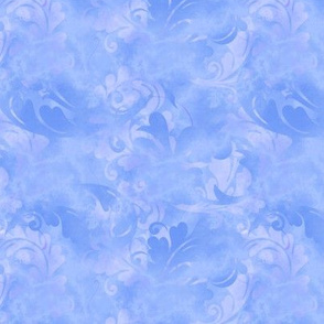 Periwinkle Blue Abstract Feathers Pattern