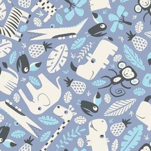 Tropical Jungle - Periwinkle Blue