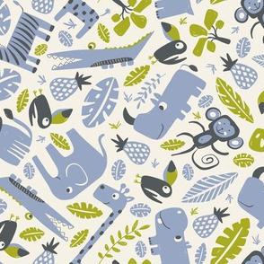Tropical Jungle - Cream Periwinkle Blue