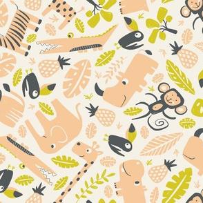 Tropical Jungle - Cream Peach