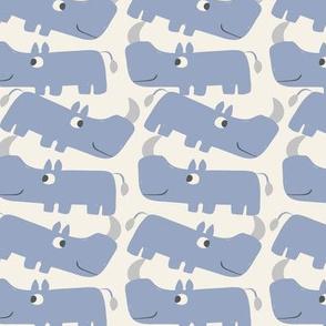 Romping Rhinos - Cream Blue