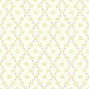 Yellow doodle stars and purple dashes