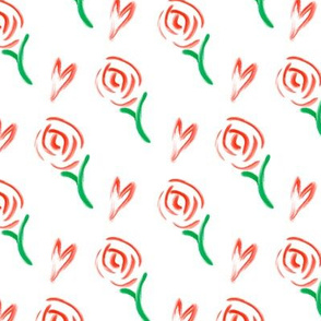 Painted Roses & Hearts Pattern on White