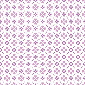 Purple heart shape flowers and dots