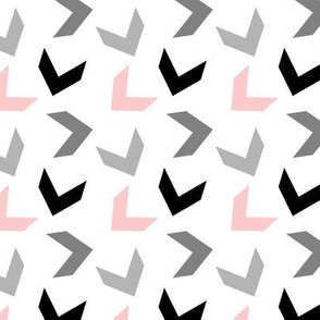 random arrows blush pink, gray, black