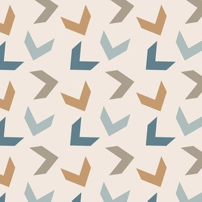 random arrows tan, slate blue, honey,  cream
