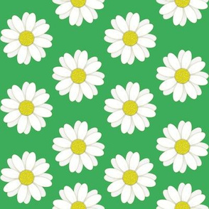 Rows of Daisies Pattern on Green