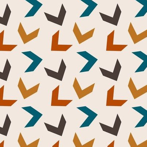 random arrows in teal, burnt orange, brown
