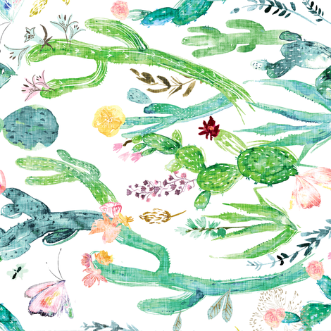 Cactus Garden (white) rotated fabric by nouveau_bohemian on Spoonflower - custom fabric
