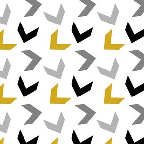 random arrows mustard, black, grays on white