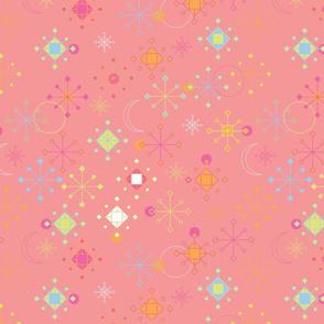 Geometric Snowflakes - peach