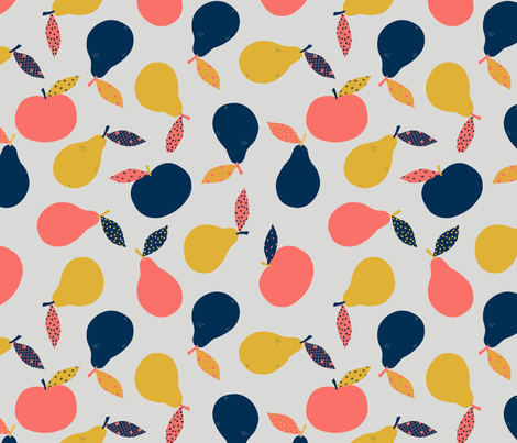 Coral Apples and Pears fabric by sazerelli_designs on Spoonflower - custom fabric