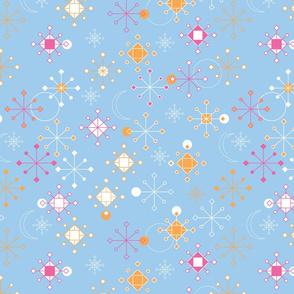 Geometric Snowflakes - pink orange on blue