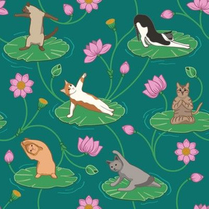 Cats Doing Yoga on Lotus Flowers - Small version