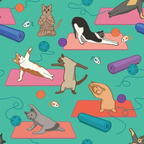 Cats Doing Yoga - Green Small Version