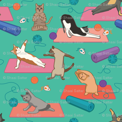 Yoga cats on Yoga Mats - Green Large Version