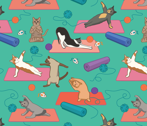 Yoga cats on Yoga Mats - Green Large Version fabric by designtherapy on Spoonflower - custom fabric