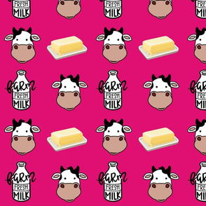 Hot Pink Cows Milk and Butter