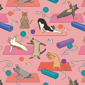 Cats Doing Yoga - Pink Larger Version