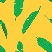 Tropical Green Banana Leaves on Yellow