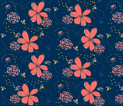 Fat Bee in Coral Floral fabric by miah_gabrielle on Spoonflower - custom fabric