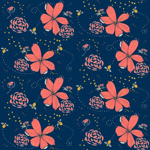 Fat Bee in Coral Floral