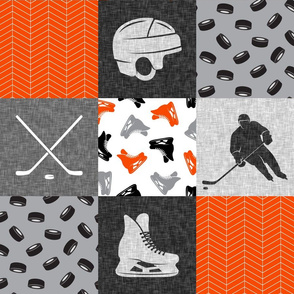 Ice Hockey Patchwork - Hockey Nursery - Wholecloth orange black grey - LAD19