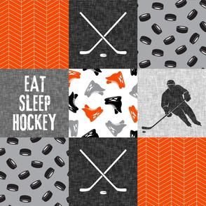 Eat Sleep Hockey - Ice Hockey Patchwork - Wholecloth orange black grey - LAD19
