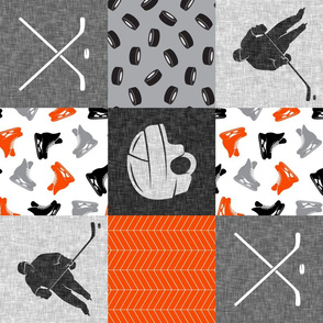 Ice Hockey Patchwork - Hockey Nursery - Wholecloth orange black grey - LAD19 (90)