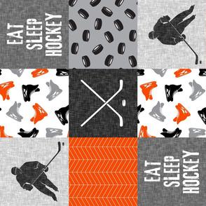 Eat Sleep Hockey - Ice Hockey Patchwork - Wholecloth orange black grey - LAD19 (90)