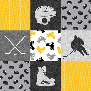 Ice Hockey Patchwork - Hockey Nursery - Wholecloth gold and black - LAD19