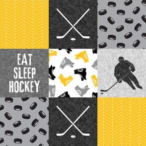 Eat Sleep Hockey - Ice Hockey Patchwork - Hockey Nursery - Wholecloth gold and black - LAD19
