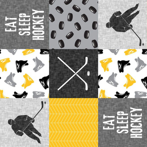 Eat Sleep Hockey - Ice Hockey Patchwork - Hockey Nursery - Wholecloth gold and black (90)- LAD19