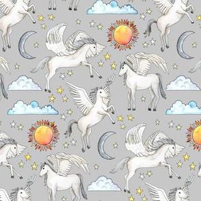 Pegasus, Son of Poseidon on light grey