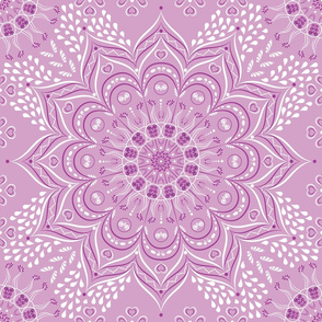 Indian floral pastel purple mandala pattern