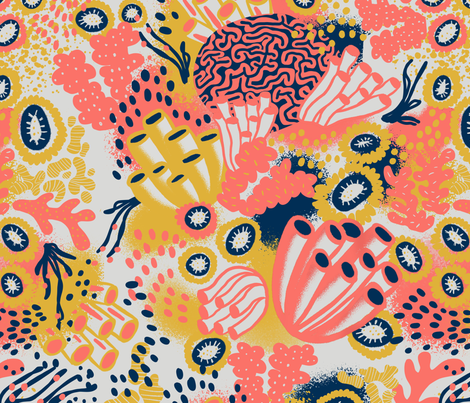 Living Coral fabric by louisemargaret on Spoonflower - custom fabric