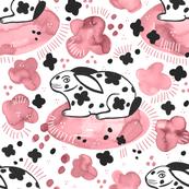 Spring Rabbit / Pink Watercolor