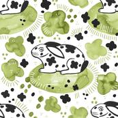 Spring Rabbit / Green Watercolor