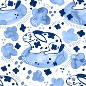 Spring Rabbit / Blue Watercolor