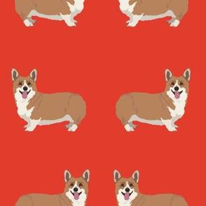 Smiling Corgi Dog Pattern on Red