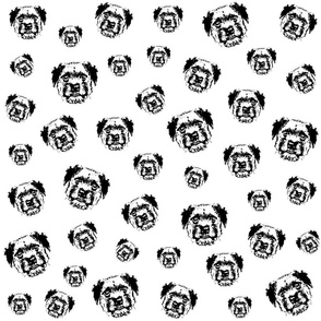 Border Terrier black white fabrics