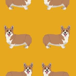 Smiling Corgi Dog Pattern on Yellow